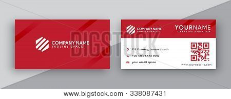 Business Card. Modern Business Card Design . Double Sided Business Card Design Template . Flat Red G