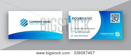 Modern Business Card Design . Double Sided Business Card Design Template . Blue Gradation Business C