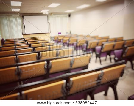 Empty Classroom, College Lecture Hall  Preparing For Education In University, Conference Room Before