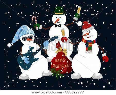 Vector Image Of Funny Snowmen. A Snowman Plays The Guitar, A Snowman With A Glass Of Champagne, A Sn