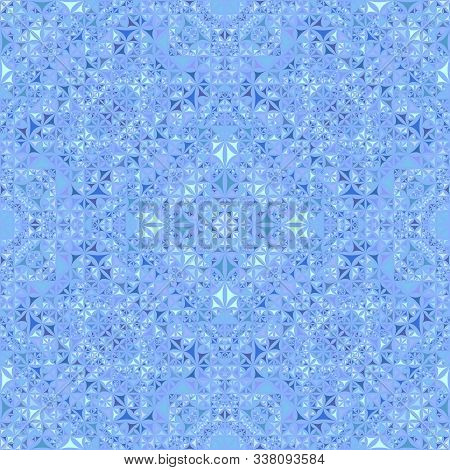 Blue Seamless Kaleidoscope Pattern Background - Abstract Symmetrical Vector Wallpaper Graphic With C