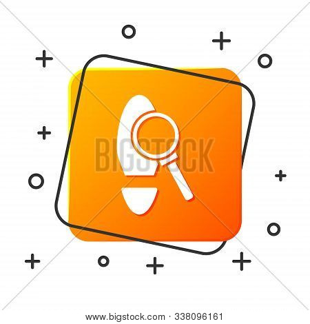 White Magnifying Glass With Footsteps Icon Isolated On White Background. Detective Is Investigating.