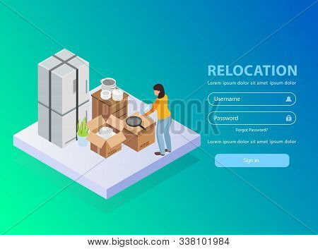 Relocation Service Application Background With Username And Password Isometric Vector Illustration
