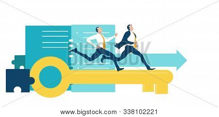 Tbusiness People Running On The Golden Key Competing For The Better Deal, Professional Position, Car