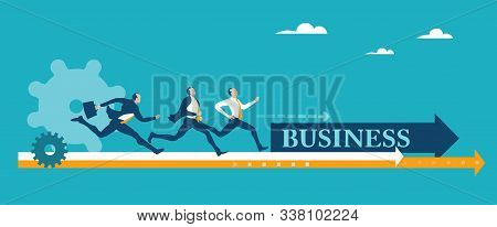 Two Business People Running And Competing For The Better Deal, Place, Professional Growth. Successfu