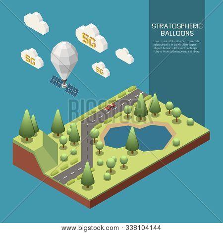 Stratospheric Balloon Flying And Sharing Modern 5g Internet 3d Isometric Vector Illustration