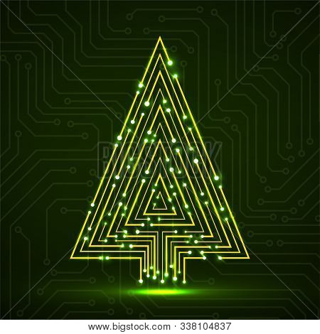 Abstract Technology Glowing Christmas Tree Made From Circuit Board. Vector Illustration