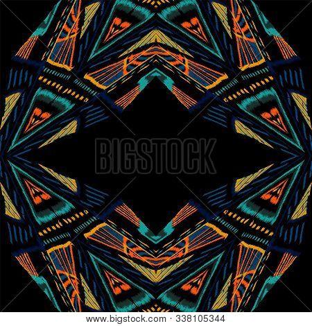 Cobalt Repeat Shibori. Cobalt Tie Dye Vector Seamless Pattern. Navajo Chevron Arabic Print. Surf Jap