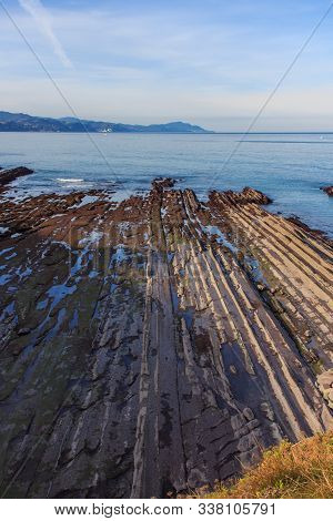 The Rock Formations Of The Beach Of Zumaia Or Itzurun In Guipuzcoa