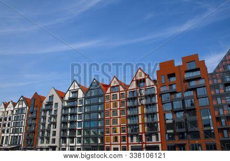 Renovated Granaries On Granary Island On River Motlawa In Gdansk, Poland