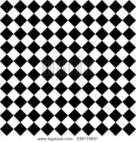 Pattern Of Black And White Rhombuses. Diagonal Checkered Background. Diagonal Chess Pattern. Argyle