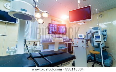 Modern Operating Room With Advanced Equipment, X-ray Screen, Interior In Hospital, Surgery, Health C