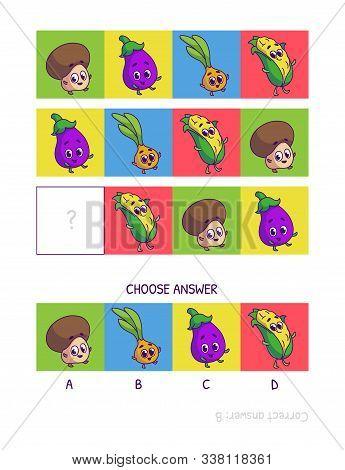 Cute Champignon, Eggplant, Onion, Corn. Logic Game For Children Preschool Worksheet Activity For Kid