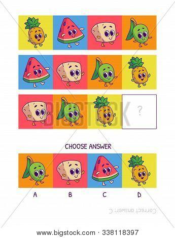 Cute Pineapple, Watermelon, Tofu, Olive. Logic Game For Children Preschool Worksheet Activity For Ki