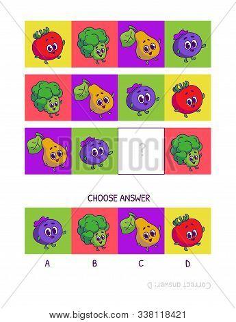 Cute Tomato, Broccoli, Pear, Blueberries. Logic Game For Children Preschool Worksheet Activity For K