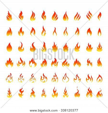 Vector Set Of Icons For Fire. Flame Icons. Flame Logo, Fire Icon.