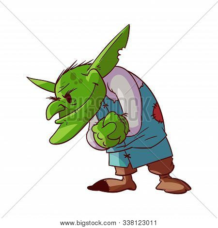 Colorful Vector Illustration Of A Cartoonish, Comic Style Green Goblin Or Troll