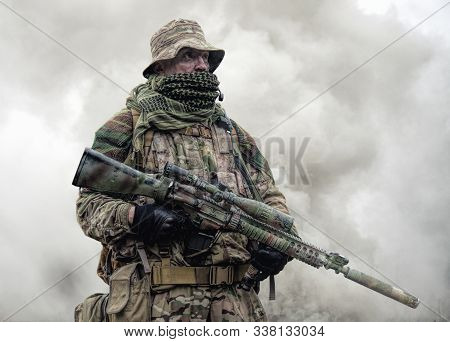 Brutal Commando Army Soldier Veteran Armed Sniper Rifle