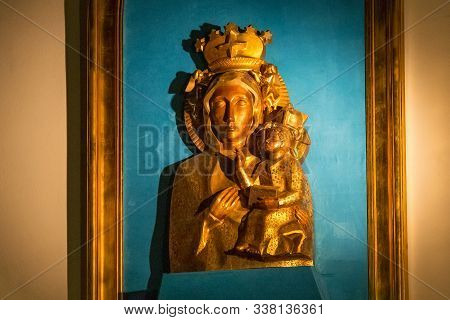 Sopot, Poland - December 20, 2017: Interior Of In The Garrison Church Of St George. The Wooden Relie