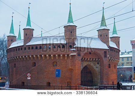 Krakow, Poland - January 06, 2016: Winter View Of The Barbican Building. The Krakow Barbican - A For