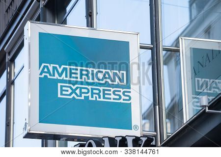 Vienna, Austria - November 6, 2019: American Express Logo In Front Of Their Office For Vienna. Ameri