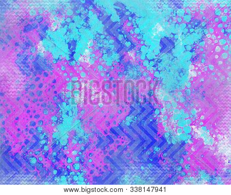 Brightly Colored, 1980s Inspired Psychedelic Abstract Background.