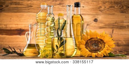 Healthy oil from sunflower, olive, rapeseed oil. Cooking oils in bottle