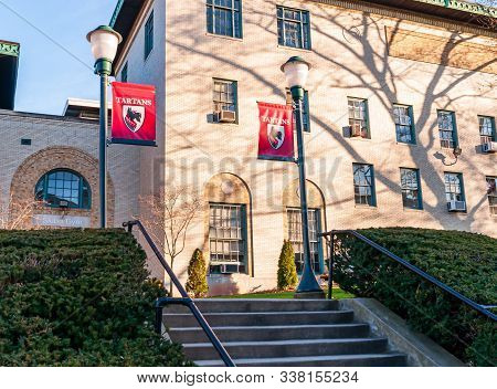 Pittsburgh, Pennsylvania, Usa 12/7/19 Steps Leading Up To Skibo Hall Gymnasium On The Campus Of Carn