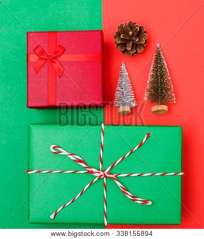 New Year, Christmas Xmas Holiday Composition, Top View With Gift Box, Clews Of Rope, Green Fir Tree