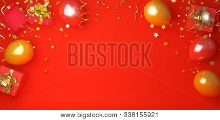 Happy Chinese New Year 2020, New Year Background, New Year Banner, Balloon, Gift Box, Glittering Con
