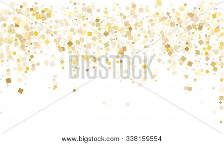 Trendy Gold Confetti Sequins Tinsels Scatter On White. Chic Holiday Vector Sequins Background. Gold