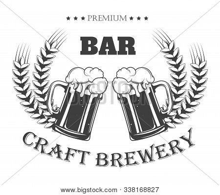 Premium Craft Brewery Pub Logo With Beer Jugs And Barley