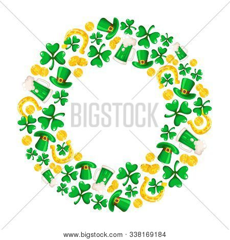 Saint Patricks Day Frame - Cartoon Round Compositon With Shamrcock Or Clover Leaves, Golden Coins, B