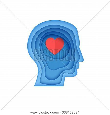 Man Brain Head With Love Hearts In Paper Cut Style. St Valentine Day Modern Vector Card Concept. Sil