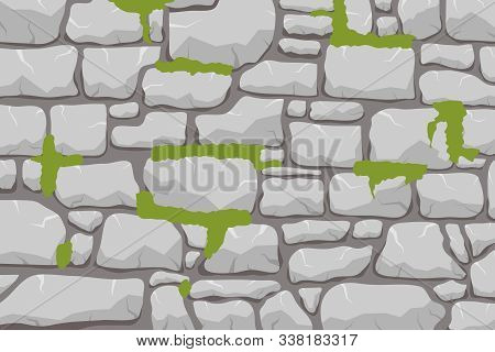 A Wall Of Stone, A Stone Wall Overgrown With Moss. Masonry Made Of Gray Stone. Vector, Cartoon Illus