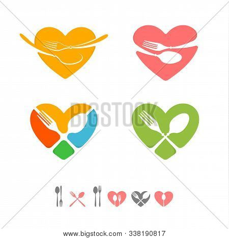 Set Of Vector Logos For Catering Business. Restaurant Emblems. Green, Yellow, Pink, Blue, Red, Grey