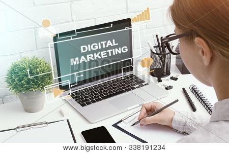 Digital Marketing Concept. Manager Of Smm Agency Taking Notes From Laptop Screen, Free Space