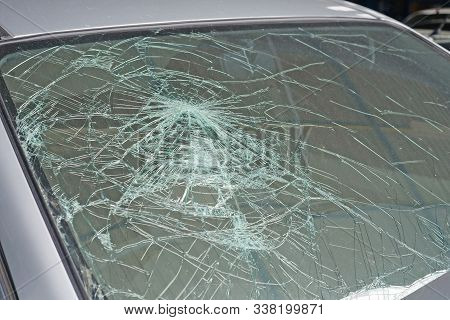 Broken Car Windshield. Accident Of Car, Close-up