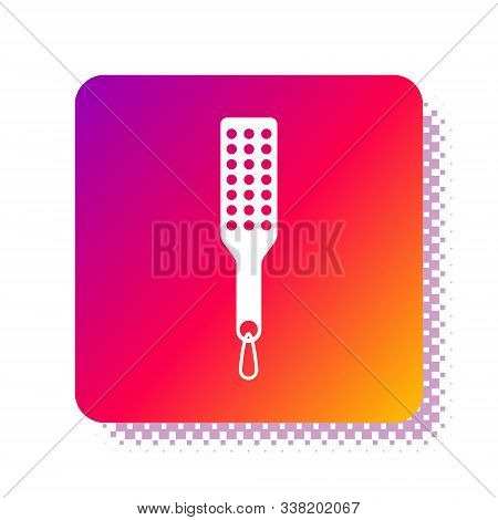 White Spanking Paddle Icon Isolated On White Background. Fetish Accessory. Sex Toy For Adult. Square