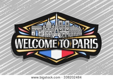 Vector Logo For Paris, Dark Sign With Black And White Line Draw Of Famous Paris Landmarks, Fridge Ma