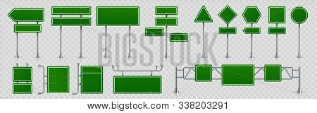 Highway Signs. Green Pointers On The Road, Traffic Control Signs And Road Direction Signboards. Vect