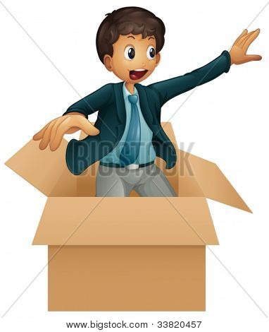 Illustration of an animated business man in box
