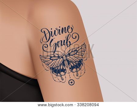Butterfly Tattoo On Female Shoulder. Mystic Butterfly Tattoo With Lettering Eternal Soul. Template O