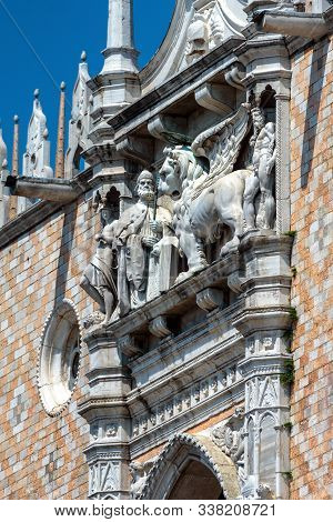 Doge`s Palace Detail, Venice, Italy. Famous Palazzo Ducale Is One Of The Top Landmarks Of Venice. Be