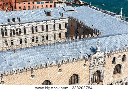 Doge's Palace Or Palazzo Ducale Taken From Above, Venice, Italy. Doge`s House Is A Famous Historical
