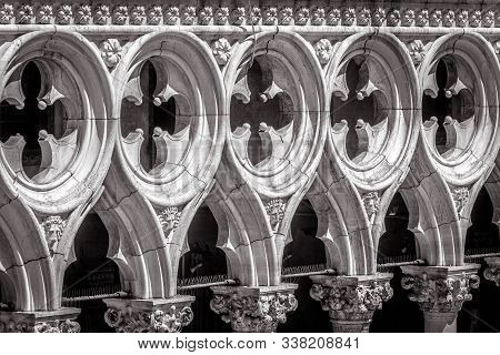 Doge`s Palace Or Palazzo Ducale Detail In Black And White, Venice, Italy. It Is Old Famous Landmark