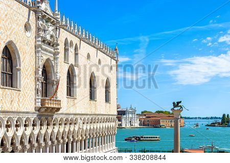 Doge`s Palace In Summer, Venice, Italy. It Is A Famous Landmark Of Venice. Scenic View Of Old Doge`s