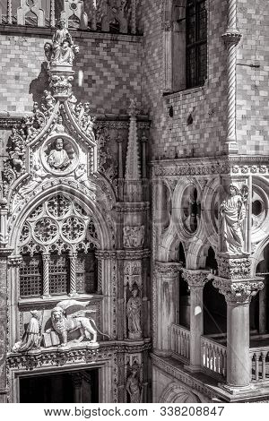 Doge`s Palace Or Palazzo Ducale Exterior In Black And White, Venice, Italy. It Is A Famous Landmark