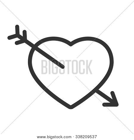 Heart With Arrow Outline Vector Icon Isolated On White Background. Heart Arrow Stock Vector Illustra