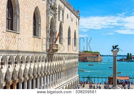 Venice, Italy - May 21, 2017: Doge`s Palace In Summer In Venice. It Is A Famous Landmark Of City. Vi